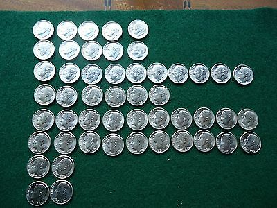 Lot of 50 - One Roll - BU 1950's Roosevelt Dimes - FREE SHIPPING!