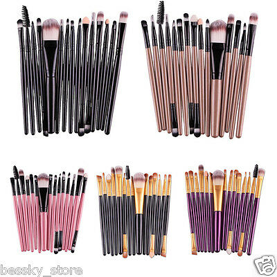 Pro 15 pcs Eye Shadow Foundation Eyebrow Lip Brush Makeup Brushes Set Tool New