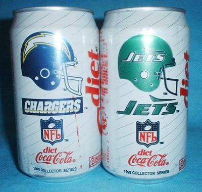 2 Different Diet Coca Cola Nfl 1993 Collector Series Soda Cans