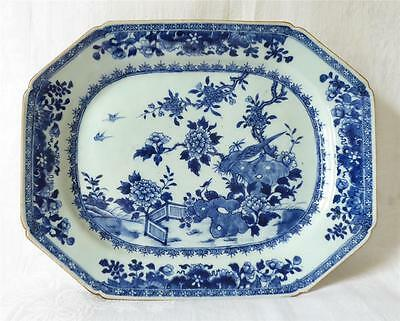 VERY LARGE MID 18TH C CHINESE BLUE AND WHITE NANKING MEAT PLATE c1760