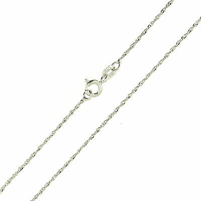 925 Sterling Silver Rhodium Finish Diamond Cut Singapore 1mm Thin Necklace Italy