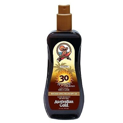 Australian Gold SPF30 HIGH PROTECTION SPRAY GEL with Instant Bronzer 237ml/8Oz