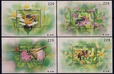 Thailand 2000 Bees Insects Flowers Plants Nature 4 x m/s MNH