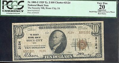 1929 PCGS 20VF National Banknote of Sioux City #3124 US $10 Currency Note JA606