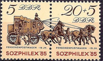 Germany DDR 1985 StampEx Mail Postal history Coach Horses Animals 2v MNH