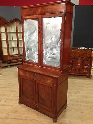 Cupboard Antique Furniture Double Body Closet Bookcase Wood Mahogany Xix 800