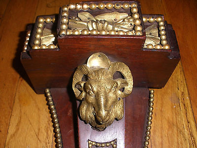 Great Antique 1800`s French Gilt Bronze Wood Bracket Shelf Ram Head Floral