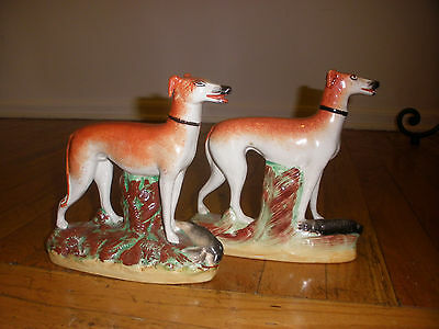 Great Pair Antique  English Staffordshire Whippet Dog Figures With Rabbit Game