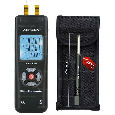 NKTECH NK-TK0 Dual Type-K LCD Backlight Digital Thermometer Thermocouple Sensor
