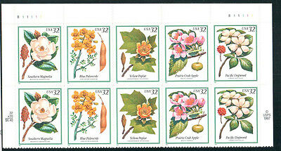 SC#3197a - 32c Flowering Trees Plate Block of 10 MNH