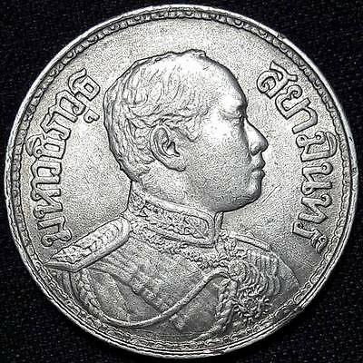 RARE! KING RAMA 6 OF THAILAND 1915 COIN SILVER 1 Baht, Antiques,Three elephants.