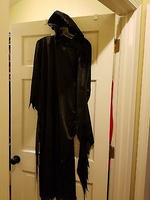 Gothic Black Hooded Cloak Wicca Robe Medieval Witchcraft Cape Halloween