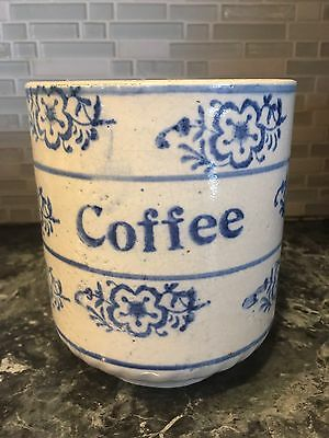 Blue and White Stoneware Coffee Canister Crock Early 1900s