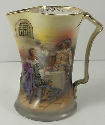 "Royal Bayreuth Vintage 4.5"" Cream Pitcher W/ Tavern Scene ~Blue Mark ~Gold Trim"