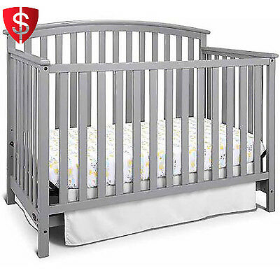 Convertible Baby Crib Toddler Nursery Bedroom Furniture Bed 4-in-1 Fixed Side