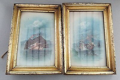 Chinese Antique 2 x paintings Junk Boats Framed