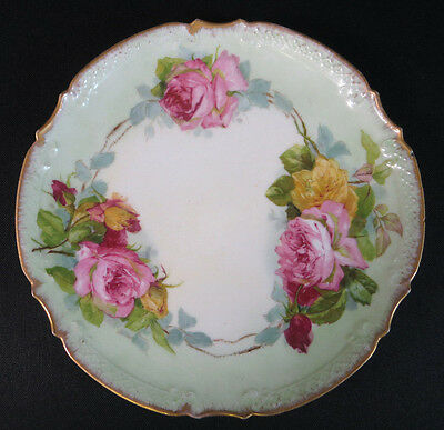 "Antique AK CD French Limoges Hand Painted Rose Plate Signed by Artist ""H.J.1918"""
