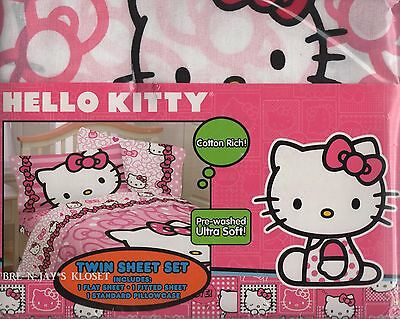 Hello Kitty Bow Tied Cotton Rich 3-Piece Twin Sheet Set - White Pink