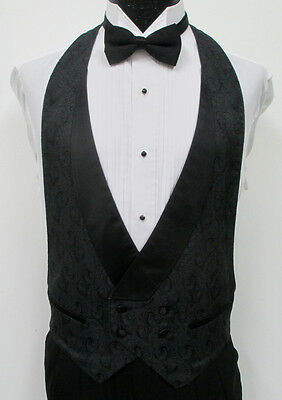 Black Paisley Double Breasted Satin Lapel Open Back Tuxedo Vest & Bow Tie Set