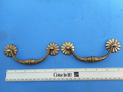 Pair of Nice Quality Vintage Solid Brass Furniture Drawer Dresser Pull Ornate 2