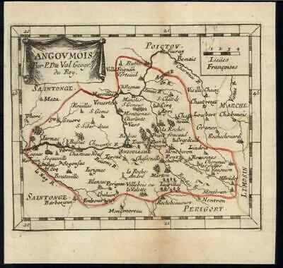 Pont Chabrot Angoumois Western France 1730 antique engraved hand color map