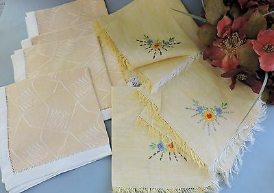 Vintage Cocktail napkins with floral embroidery lot of 12