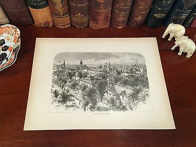 Fine Original 1872 Antique MILWAUKEE Wisconsin WI Panoramic Map Engraving