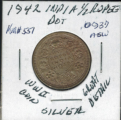 1942 Dot India Silver 1/2 Rupee WWII Coin KM # 551 Great Detail