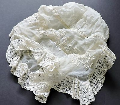 Lovely Victorian  night Bonnet with lace trim-  french style