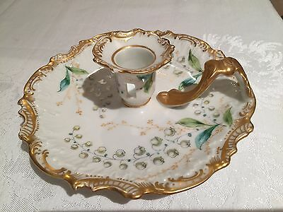 Antique c 18XX Limoges Sevres candle holder plate 7inch