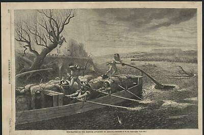 Fur Traders Missouri River Attacked by Indians 1868 antique wood engraved print