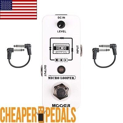 NEW!  MOOER MICRO LOOPER 30 mins Guitar Loop Pedal + 2 *Free* Patch Cables!