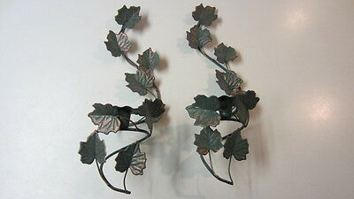 2) Home Interiors Metal Green Ivy Wall Sconce / Candle Holders