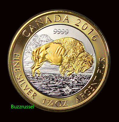 Gilded 2016 1.25 oz Canada Bison Silver Coin 24K Gold Gilt Free Shipping