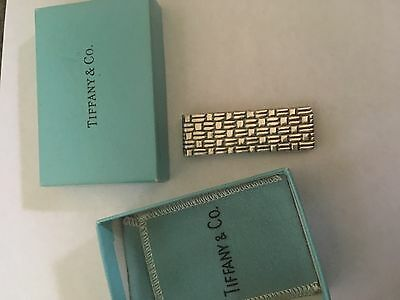 Vintage Tiffany & Co Sterling Silver Textured Weave Money Clip Holder Pouch Box
