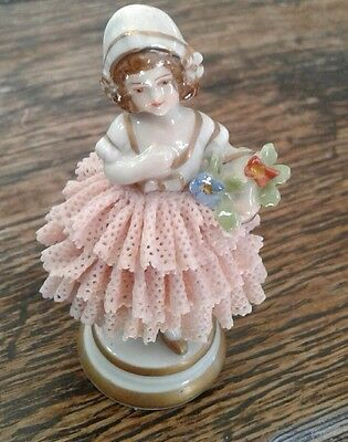 Beautiful Porcelain Dresden Style Lace Figurine Germany