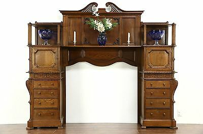 Oak Architectural Salvage Antique Scandinavian 1890's Fireplace Mantel & Cabinet