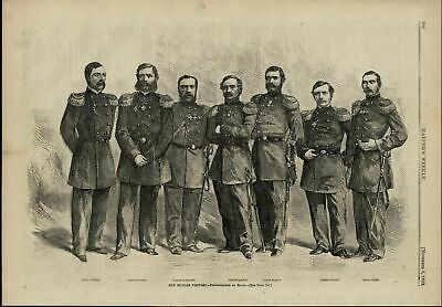 Russian Visitors Group Portrait Military nice 1863 great old print for display