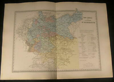 Empire of Germany Bohemia Holstein Saxony c.1870 antique engraved color map