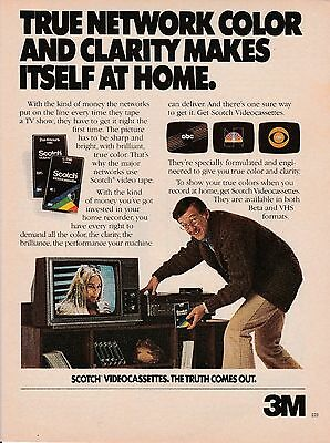 Vintage 1980 Scotch Video Cassettes print ad     Great to frame!