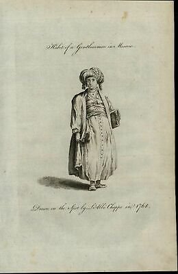 Moscow Gentlewoman Robe Coat Head Wrap 1779 antique Ethnic Costume Dress print