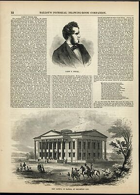 Capitol Building Lecompton City Kansas Indian Family 1856 antique engraved print