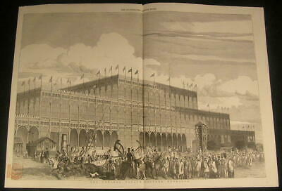 Crystal Palace Magnificent Steel & Glass Building exterior 1851 antique print