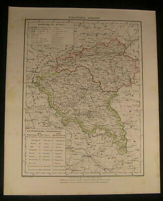 Posen Prussia Poland Bromberg 1854 antique lithograph detailed color map