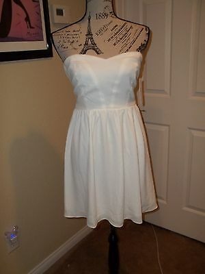 Nwt Homecoming/prom Aqua White Chiffon Strapless Party Cocktail Dress Size M