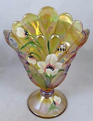 Fenton Glass - Iridescent Gold Carnival - Fan Vase - Hand Painted Bee Flowers
