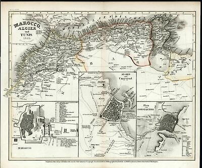 Morocco Tunis Algiers North Africa 1846 antique engraved hand color map