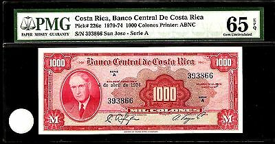 Costa Rica 1000 Colones 1970 PMG 65 EPQ UNC Pick # 226c S/N 393866 Printer:ABNC