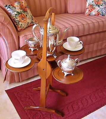 Antq English Cherrywood Tilt Top Expandable 2 Tier Collapsible Winged Tea Server