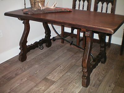 Antique SOLID WOOD FARM TABLE w/6 chairs ~ Wrought Iron Details - Beautiful!